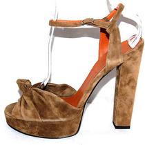 Lanvin 1110 Nib Dark Khaki Suede Strappy Platform Sandals 41 Photo