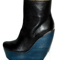 Lanvin 1578 Nib Black Lambskin Crazy Wedge Ankle Boots 38  Photo