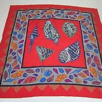 Lanvin 100% Silk Scarf Red Bright Shells Print 35