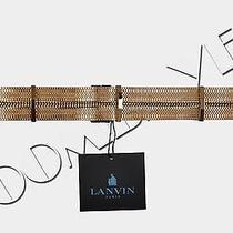 Lanvin 1890 Flat Gold Colored Brass Metal Chain Leather Waist Belt L Bnwt Photo