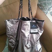 Lanvin 2014 Silver Lambskin Rhinestone Gunmetal Chain Tote - New W/tags Auth Photo