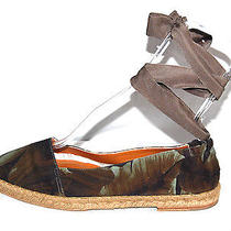 Lanvin 495 Nib Green Leaf Print Canvas Flat Espadrilles 41 Photo