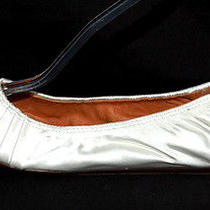 Lanvin 565 Nib Ivory Pleated Satin Stretch Ballet Flats 38 Photo