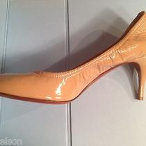Lanvin 585  Nude Cup Toe Patent Leather Heel Shoes  Beige New 39.5  Us 8.5 Photo