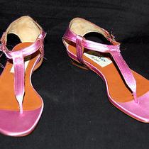 Lanvin 683 Nib Bright Pink Satin T-Strap Flat Sandals 35 Photo