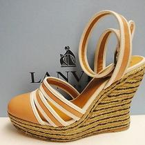 Lanvin 795 Leather Ankle Wrap Colorblock Wedge Platform Espadrilles Shoes 37 Photo
