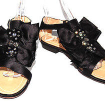 Lanvin 955 Nib Black Satin Strass Crystal Detail Sandals 41 Photo