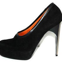 Lanvin 965 Nib Black Suede Chrome Heel Low-Cut Booties 40 Photo