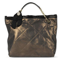 Lanvin Amalia Cabas Quilted Leather Tote Metallic Bronze Gold Lambskin Italy  Photo