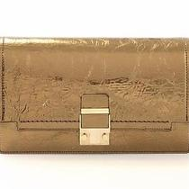 Lanvin Antique Gold Metallic Cracked Leather Crossbody Bag New Photo