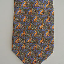 Lanvin Art Deco Greyhound Print Silk Tie Made in France Photo