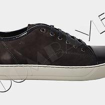 Lanvin Authentic Anthracite Suede & Patent Calfskin Leather Low Top Sneakers Photo