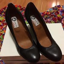 Lanvin Ballerina Black Leather Wedge Pump Shoes Size 38 8 New Photo