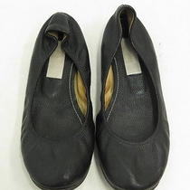 Lanvin Ballet Flat Black Leather Size 37.5 Gently Worn Photo