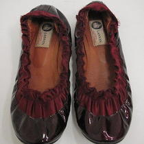 Lanvin Ballet Flat Merlot Patent and Gathered Satin Size 38.5 Gently Worn Photo