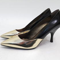 Lanvin Bicolor Pointed-Toe Leather Pump Black/gold Size 40 790 New in Box Photo