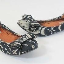Lanvin Black Grey Canvas Bow Ballerina Ballet Flats Shoes 38 Photo