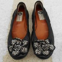 Lanvin Black Leather Jeweled Crystal Flower Scrunch Ballet Flats Ballerinas 38 Photo
