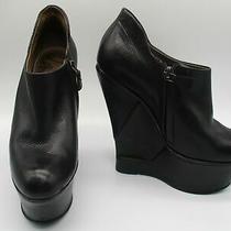 Lanvin Black Leather Platform Wedge Ankle Bootie Sz 5.5 Photo