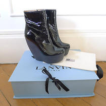 Lanvin Black Patent Leather Wedge Platform Ankle High Heel Boots Nib 39.5 Photo