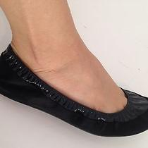Lanvin Black Satin & Patent Leather Ballet Flats Size 37. K Photo
