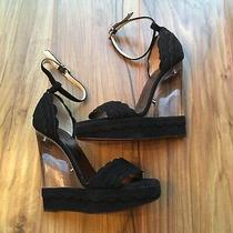 Lanvin Black Scallop Suede Lucite Persplex Clear Dior Wedge Gucci 36 Photo