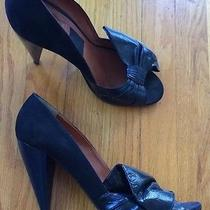 Lanvin Black Suede Navy Lacquer Cone Heel Shoes 41 10 Photo