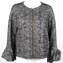 Lanvin Black & White Boucle Zip-Front Ruffled Sleeve Jacket 48 Photo