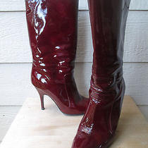 Lanvin Blood Red Patent Leather Mid Calf High Heel Boots 38.5 Photo