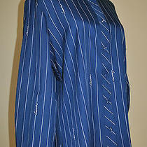 Lanvin Blouse Navy Pinstripe Signature Shirt Womens Vintage Size Large Euc Photo