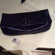 Lanvin Blue Leather Metallic Clutch Photo