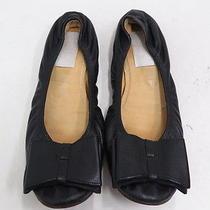 Lanvin Bow Ballet Flat Black Leather Size 40.5 Gently Worn Photo
