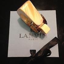 Lanvin Bracelet Cuff Chunky Geometric Gold Tone Brass Resin Ivory W/ Box Photo