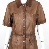 Lanvin Brown Lambskin Leather Short Sleeve Shirt Jacket 46 Photo