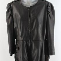 Lanvin Brown Leather Bracelet Length Zip Front Jacket Blazer 42 10 Photo