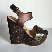 Lanvin Brown Metallic Python Cork Wedge Ankle Strap Sandal 38 / 8 Photo