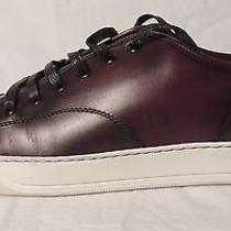 Lanvin Burgundy Low Top Leather Sneakers Size 12  Photo