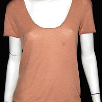 Lanvin Camel Brown Cashmere Short Sleeve Knit Top S Photo