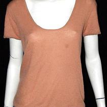 Lanvin Camel Brown Cashmere Short Sleeve Knit Top S Photo