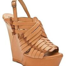Lanvin Camel Wedge Sandal With Weaving Size 41 Retail 1420.00 Photo