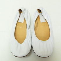 Lanvin Classic Leather Ballet Flat White Size 40.5 Gently Worn Photo