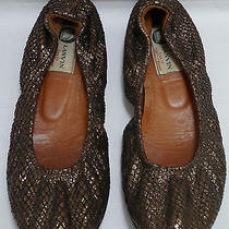 Lanvin Copper Snake Skin Python Ballet Flats Shoes Size 39.5 40 Photo