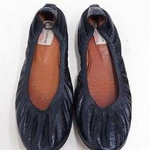 Lanvin Crinkled Patent Ballet Flat Navy Size 40 Gently Worn Photo