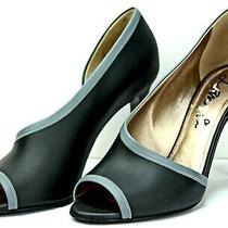 Lanvin d'orsay Pumps Size 7.5 Black Grey Leather Peep Toe Heels Offc Photo