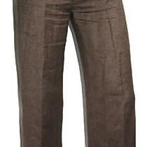 Lanvin Dark Brown Linen Cropped Pants 40 Photo