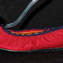 Lanvin Dark Red & Blue Grosgrain Flower Detail Ballet Flats 38 Photo