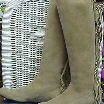 Lanvin Designer Beige Suede Fringed Knee High Boots  Sz. 36 Eur. 5 1/2-6 Us Photo