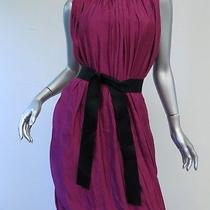 Lanvin Draped Blouson Dress With Sash Belt Fuchsia Size 36 New With Tags Photo