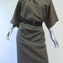 Lanvin Drawstring Neckline Dress With Elastic Belt Gray Size 36 Gently Worn Photo