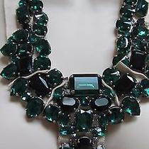 Lanvin Emerald Black Faceted Crystal Bib necklace.100% Authentic. France Photo